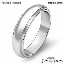 Men Wedding Solid Band Dome Step Down Matte Ring 5mm 18k White Gold 6.9gm 9-9.75