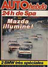 AUTO HEBDO n°277 du 30 Juillet 1981 24h de Spa BMW