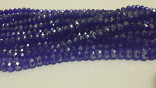 New ! 100pcs Faceted Rondelle Crystal Glass Beads blue 4x6mm FREE