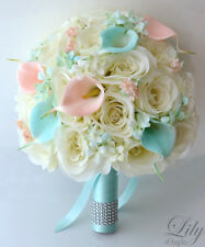 17pcs Wedding Bridal Bouquet Set Silk Flower Decoration PEACH TIFFANY BLUE