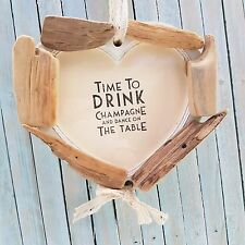 SHABBY DRIFTWOOD CHIC WOODEN CHAMPAGNE ALCOHOL HEART PHOTO PICTURE FRAME GIFT
