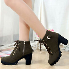 New Womens Lady Lace Up Platform High Heel Biker Motor Boot Winter Shoes Chunky