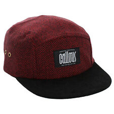 C003 CALLOUS Premium Handcrafted 5 Panel Cap Red Tweed Crown & Black Suede Peak
