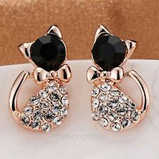 Moda donna gatto nero carino Cat oro Bowtie strass cristallo orecchini Earrings