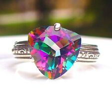 NEW Silver RING 3.82ct 10mm Trillion Facet Cut Rainbow AZOTIC MYSTIC TOPAZ