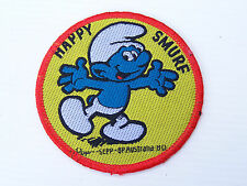 VINTAGE BP AUSTRALIA HAPPY SMURF EMBROIDERED SOUVENIR PATCH WOVEN CLOTH BADGE