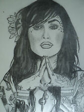 ORIGINAL DRAWING TATTOO ART KAT VON D DETAILED PORTRAIT BY SEAN, A STREET ARTIST
