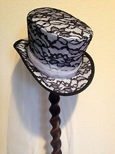 "WHITE SATIN BLACK LACE TOP HAT- WHITE TULLE SCARF S/M-21.5-22"" HAT SIZE 6 7/8-7"