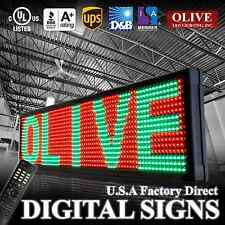 "LED Sign Message Board™ p26 Tricolor RGY, 19"" x 53"" Programmable Outdoor OLIVE"