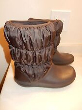 Womens Crocs Winter Puff Boots Brown Size 10 Crocband Snow Boot