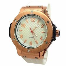 MONTRE HOMME CUIR BLANC DOUBLE CHRONO CUIVRE BELLOS ICE LITTLE DADDY IDEE CADEAU
