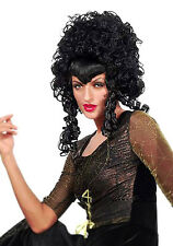 LADIES VAMPIRE COSTUME WIG BIG LONG BLACK GOTH GOTHIC HALLOWEEN FANCY DRESS NEW