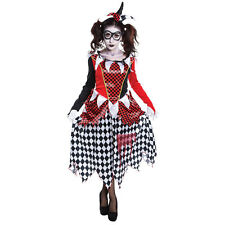 FEMALE HARLEQUIN GIRL EVIL CLOWN FANCY DRESS COSTUME