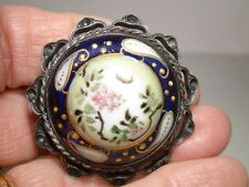 BEAUTIFUL ANTIQUE NIPPON HAND PAINTED MORIAGE PORCELAIN IN SILVER FRAME PIN!