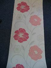 RED & CORAL LARGE FLOWER FEATURE WALL WALLPAPER