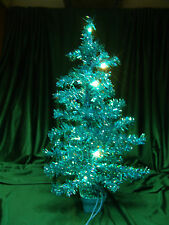 TABLE TOP 22 INCH BLUE PRE LIT TINSEL CHRISTMAS TREE FREE SHIPPING