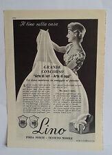 D12  PUBBLICITA' CLIPPING ANNO 1959 - LINO FIBRA FORTE TESSUTO NOBILE