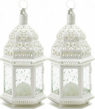 "2 set large 15"" tall white Moroccan Candle holder Lantern terrace outdoor patio"