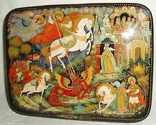 Russian Lacquer box Palekh The story of St. George Winner miniature Hand Painted