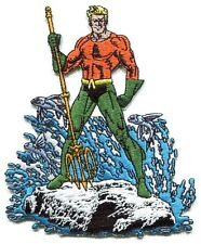 AQUAMAN with trident & waves EMBROIDERED IRON-ON PATCH **FREE SHIPPING** d 89010