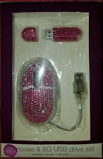 Home Elements Pink Rhinestone Embellished Bling Mouse & 8G USB Drive Set NEW $15