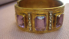 STUNNING ! VICTORIAN GOLD FILLED SEED PEARL AND AMETHYST BANGLE