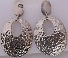 Hammered Sterling Silver Large Oval Mod Retro Hanging Earrings Large Unique Fine