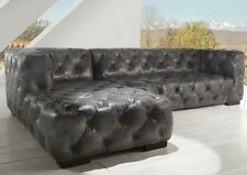 """118"""" Handmade RSF Loveseat LSF chaise sectional gray leather tufted spectacular"""