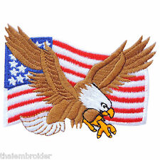 USA Flag US American Stripes Stars Flying Eagle Biker Iron-On Patches #FL007