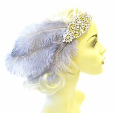 Grey Gold Silver 1920s Feather Headband Headpiece Flapper Great Gatsby Vtg 1381