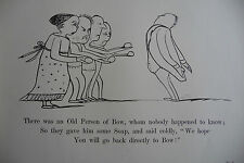 EDWARD LEAR - NONSENSE VERSE -  ANTIQUE PRINT 1888 - OLD PERSON OF BOW