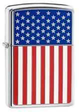 Zippo 28827 American Flag Stars & Stripes Emblem High Polish Chrome Lighter