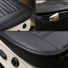 3D Universal Bamboo Charcoal Cushion Seat Pad PU Leather Car Seat Covers Black