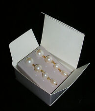 AVON FAUX PEARL CONVERTIBLE EARRINGS WITH SURGICAL STEEL POSTS 1988 NEW IN BOX