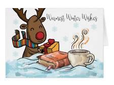 Christmas Card, Warmest Winter Wishes, Reindeer With Hot Chocolate and Book
