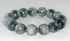 14MM CHRYSOBERYL CAT EYE GEMSTONE GRADE AA PEWTER GREY ROUND LOOSE BEADS 8""