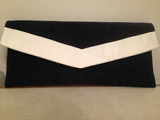 NAVY BLUE AND WHITE faux suede envelope clutch bag, clasp,  fully lined BN,