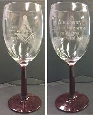Laser Engraved Masonic 10 oz Red Stem Wine Glass with saying