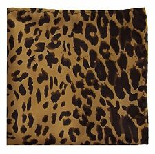 New polyester leopard animal print pocket square hankie handkerchief Brown