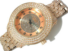 Iced Out Bling Bling Big Case Hip Hop Techno King Men's Watch Brown Item 1841