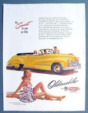 OLDSMOBILE CONVERTIBLE Original 1947 Car Ad You'll Be in the Swim in an Olds