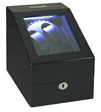 Diplomat Phantom 2 + 3 Watch Winder + Storage LED Lit Black Finish Lock and Key