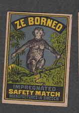 Ancienne   étiquette   allumettes  Suède  AS189  Ze Bornéo Singe