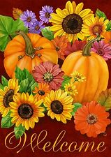 "Fall Glory Floral Garden Flag Pumpkins Sunflowers Autumn 12.5"" x 18"""