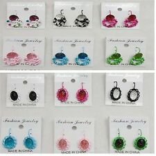 fashion jewelry 12 pairs colorful French clip earring  wholesale lot AU-51