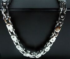 """Mens Fashion Cool 5mm Stainless Steel Silver Bike Bicycle Chain Necklace 22"""""""