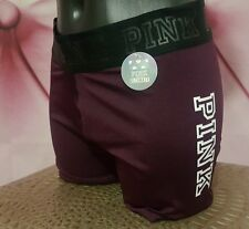 Victorias Secret PINK Ruby Maroon graphic workout gym ultimate yoga shorts S