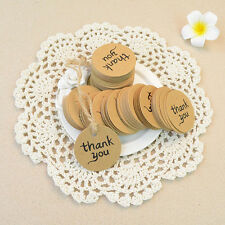 "100x Kraft Paper Hang Tags Wedding Party Favor Label ""thank you"" Gift Cards"