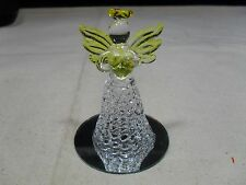 Hand Finished Glass Ornament ~ Glass Love Angle W/ Heart ~ Clear & Yellow