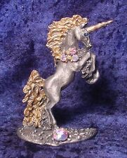 Tall Pewter UNICORN with GOLD Highlights and Colorful CRYSTALS